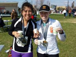 Wisconsin Half: Thai Phi and me with our beer and cheese