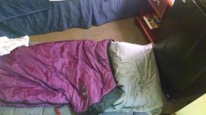 I volunteered to sleep on the floor. I called it urban camping.